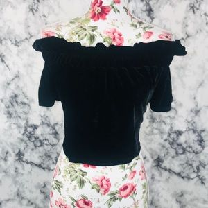Nasty gal 4 black velvet off the shoulder blouse